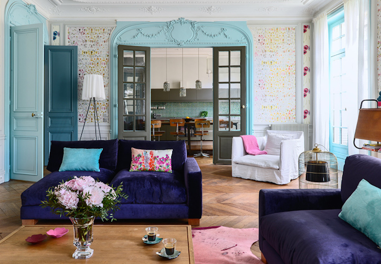 Living Room with baby blue Millwork and Dotted Wallpaper