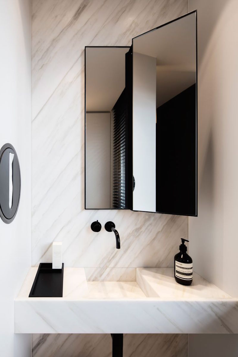 Marble Bathroom Sink with Black Faucet