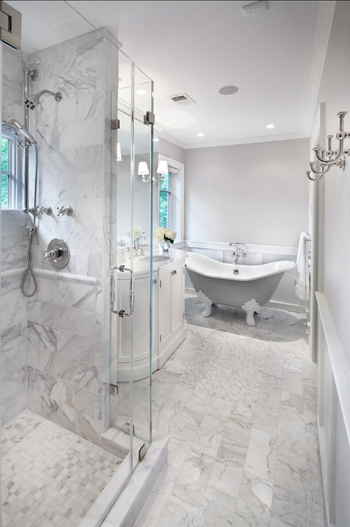 Marble Bathroom with Gray Tub