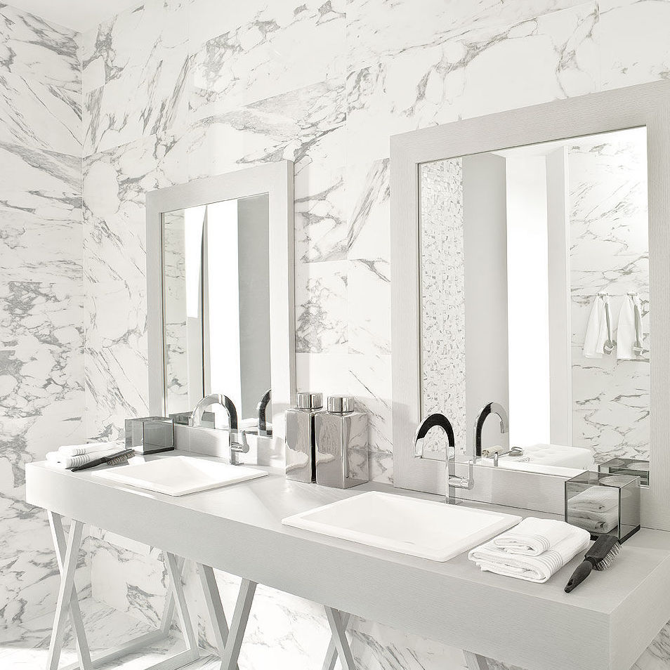 Marble Bathroom With Silver Finished Double Sink