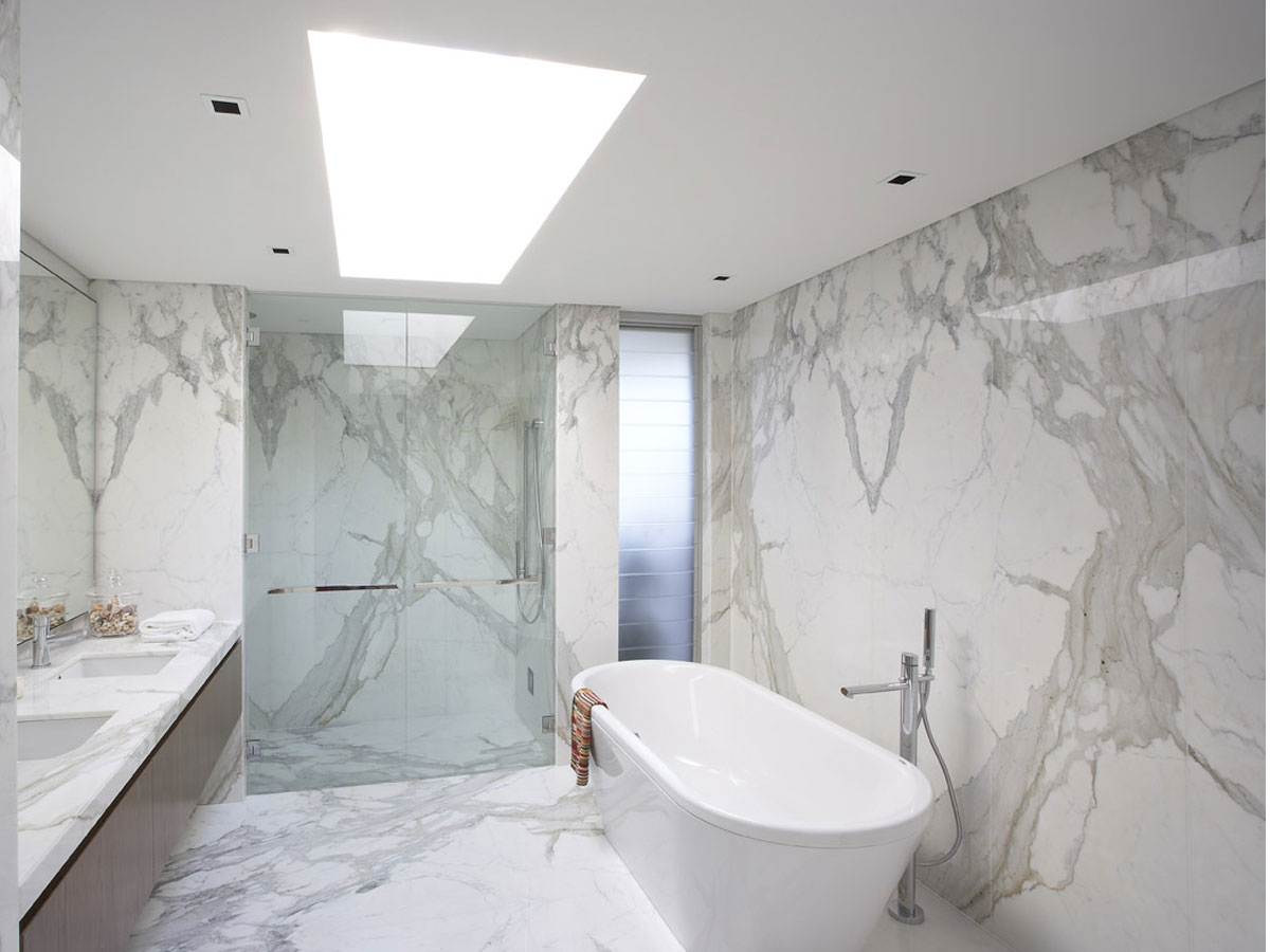 Marble Bathroom with Silver Fixtures