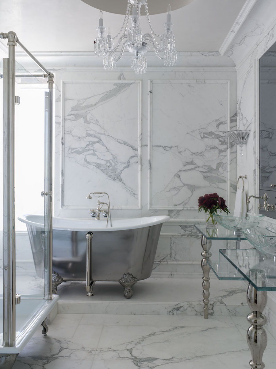Marble Bathroom with Silver Gray Free Tub