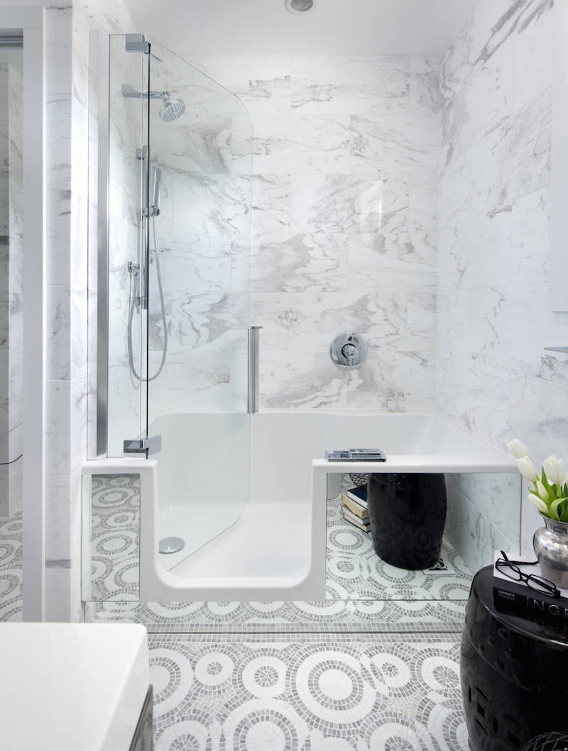 Marble Bathroom with Walk-in Shower and Circle Tiling
