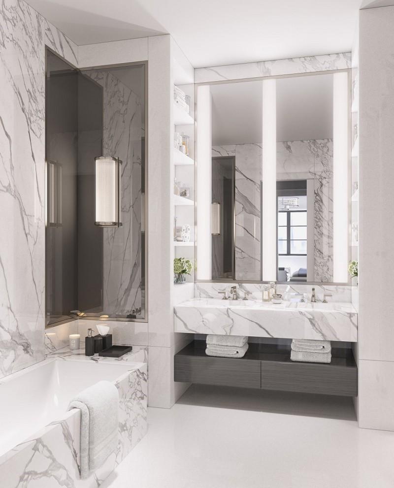 Marble Bathroom with White Floor