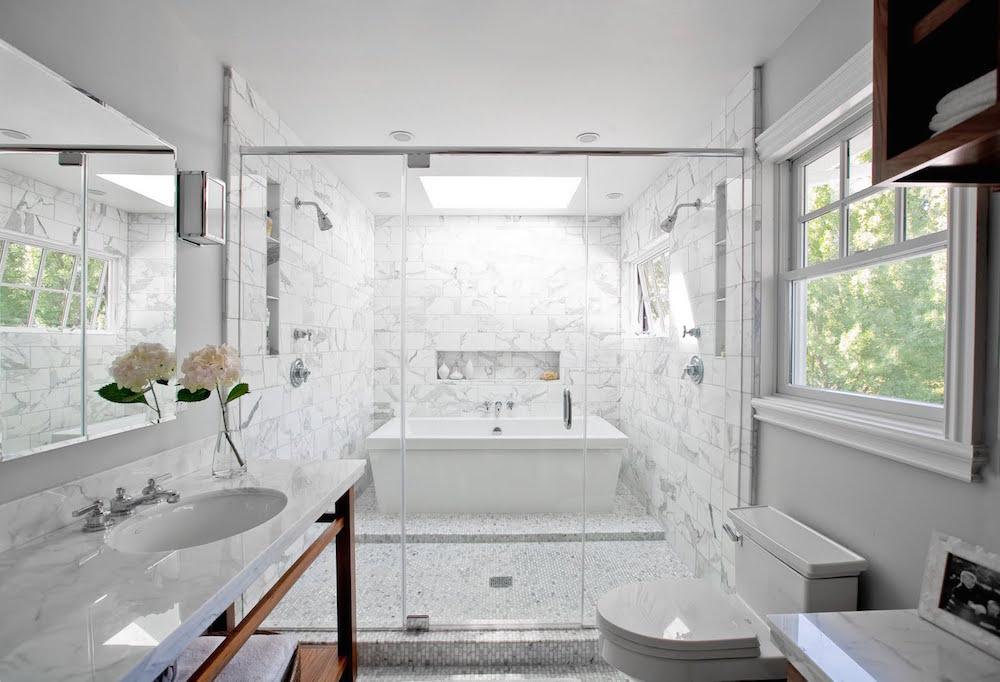 Marble Bathtub inside a Shower