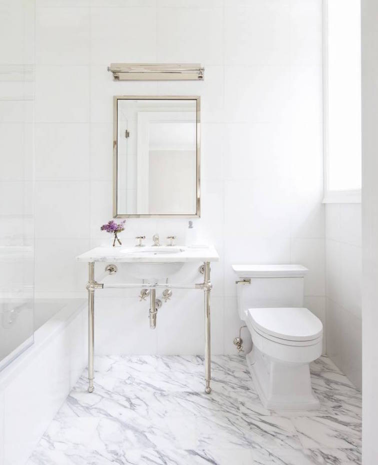 Marble Floor Bathroom With Silver Sink