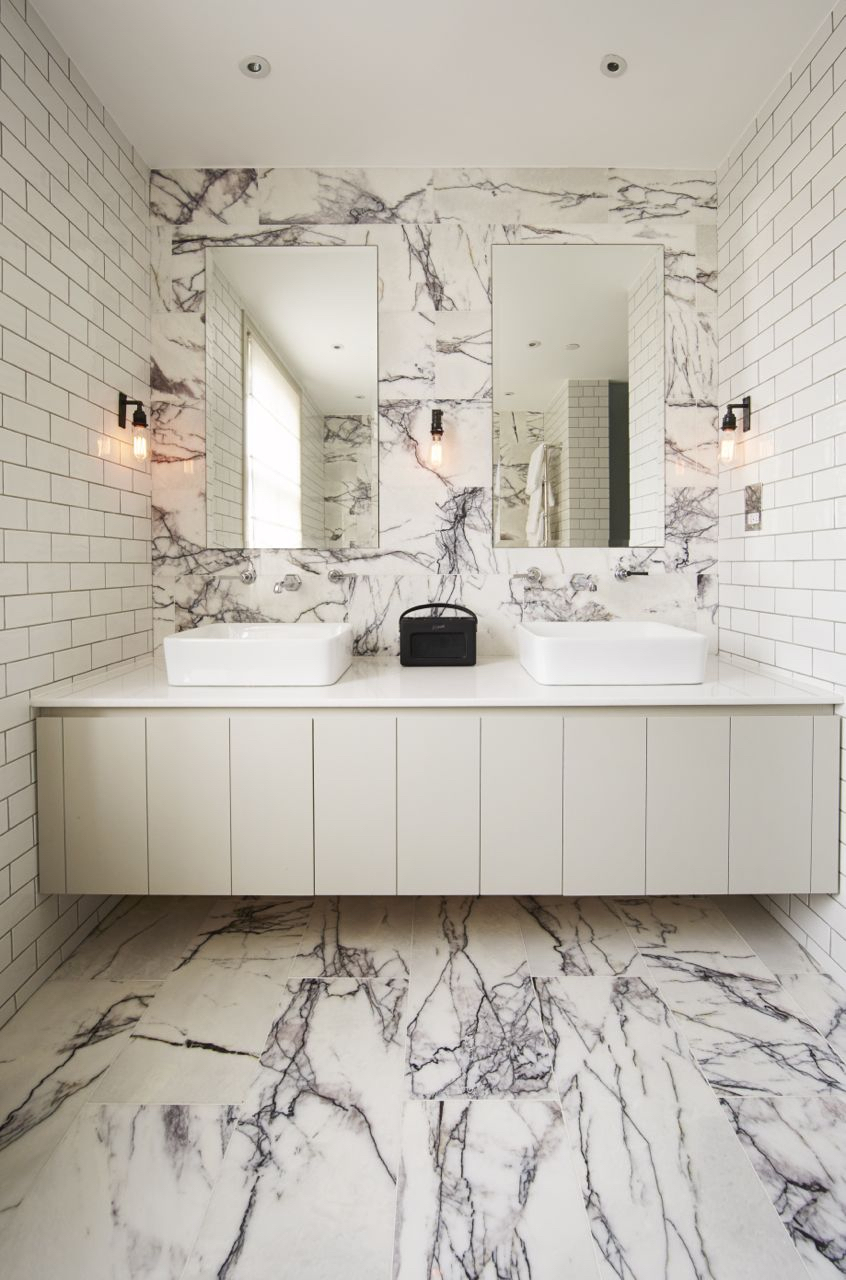 Marble Floor and Wall with Double Sink