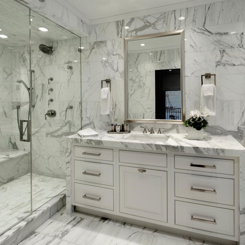 Marble Shower and Vanity HGTV