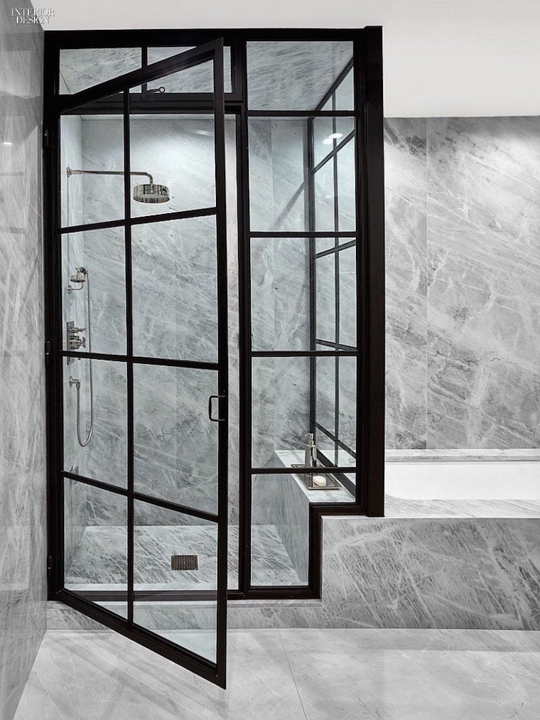 Marble Shower with Black Window Frames