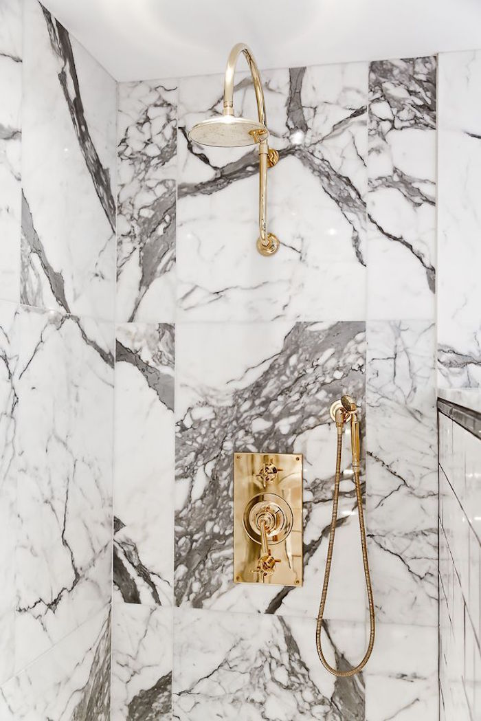 Marble Shower with Gold Finish