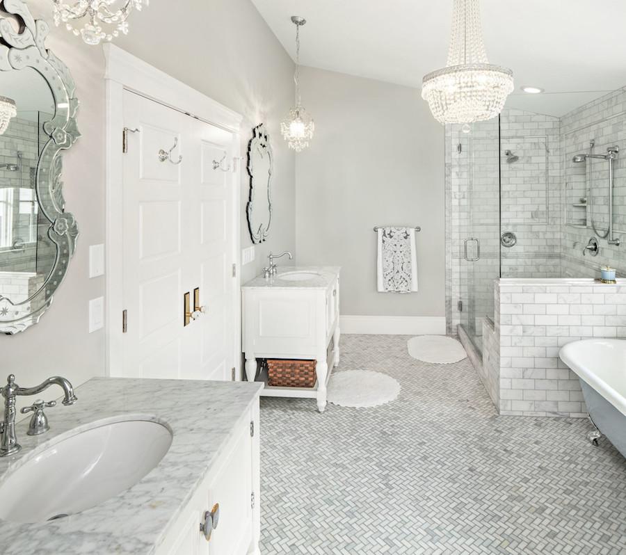 Marble Tile Floor Bathroom with Venetian Mirror