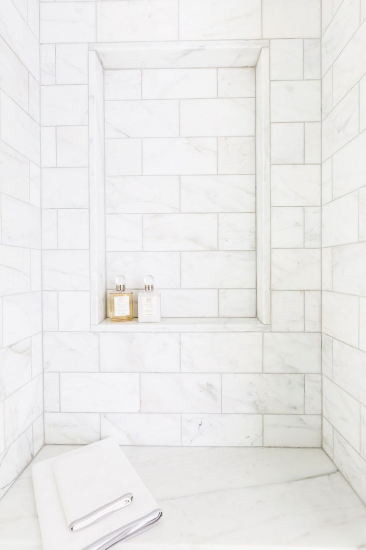 Marble Tile Shower with Shelf