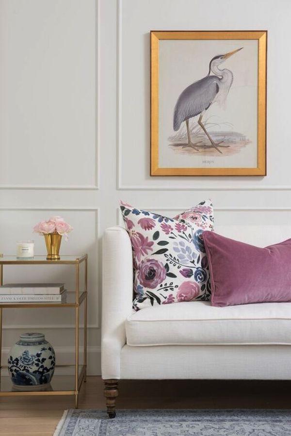 Mauve Velvet Pillow on White Couch