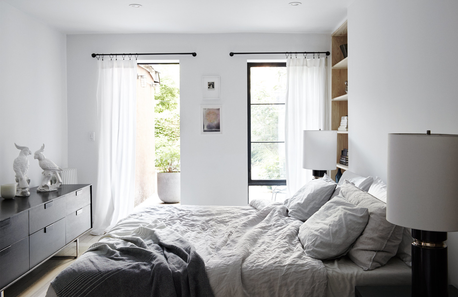 Minimal Brooklyn Retreat Grey Sheets Bedroom