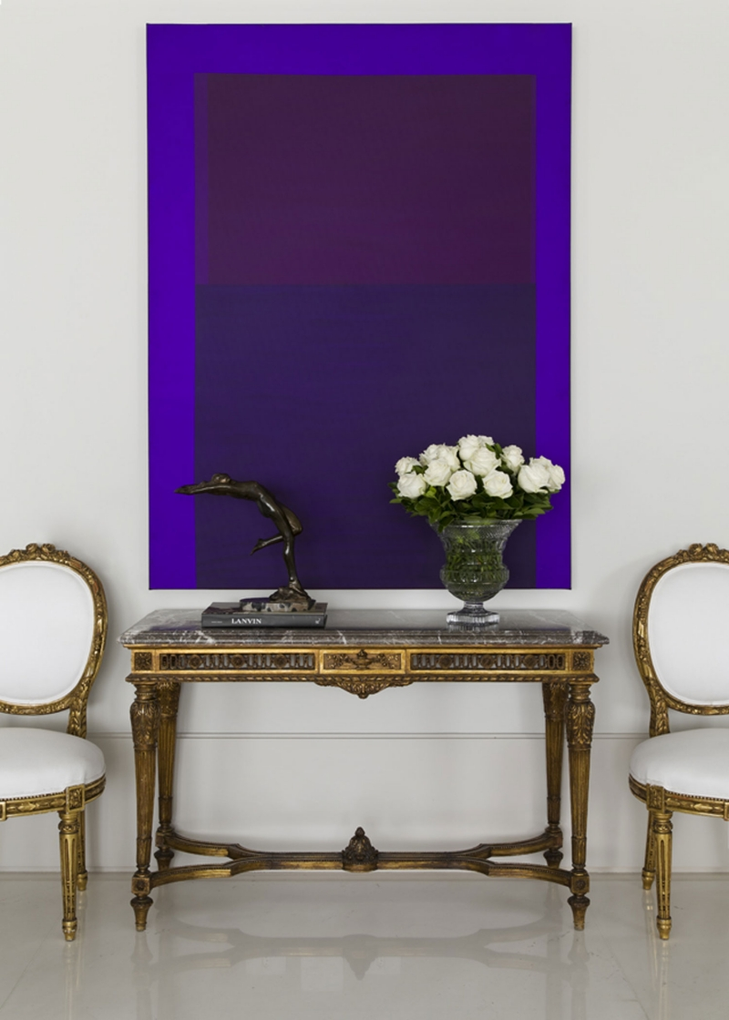 Modern Purple Artwork with Vintage French Louis XVI Chairs