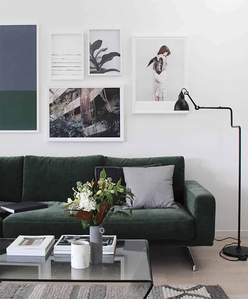 Muted Green Velvet Sofa with White Gallery Wall