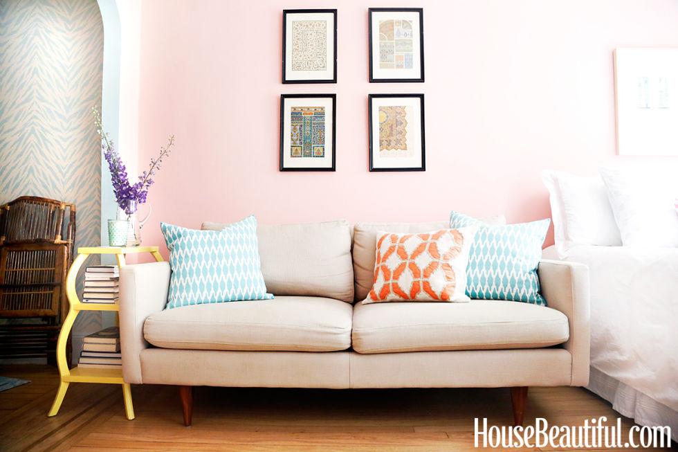 Neutral Couch, Blue Pillows and a Blush Pink Wall