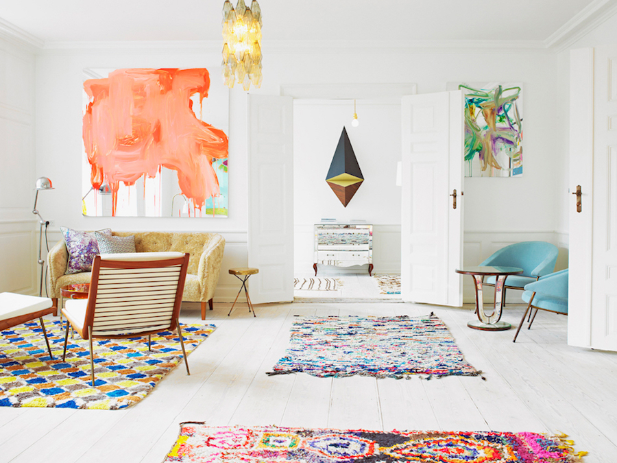 Orange Abstract Art in Colorful Apartment