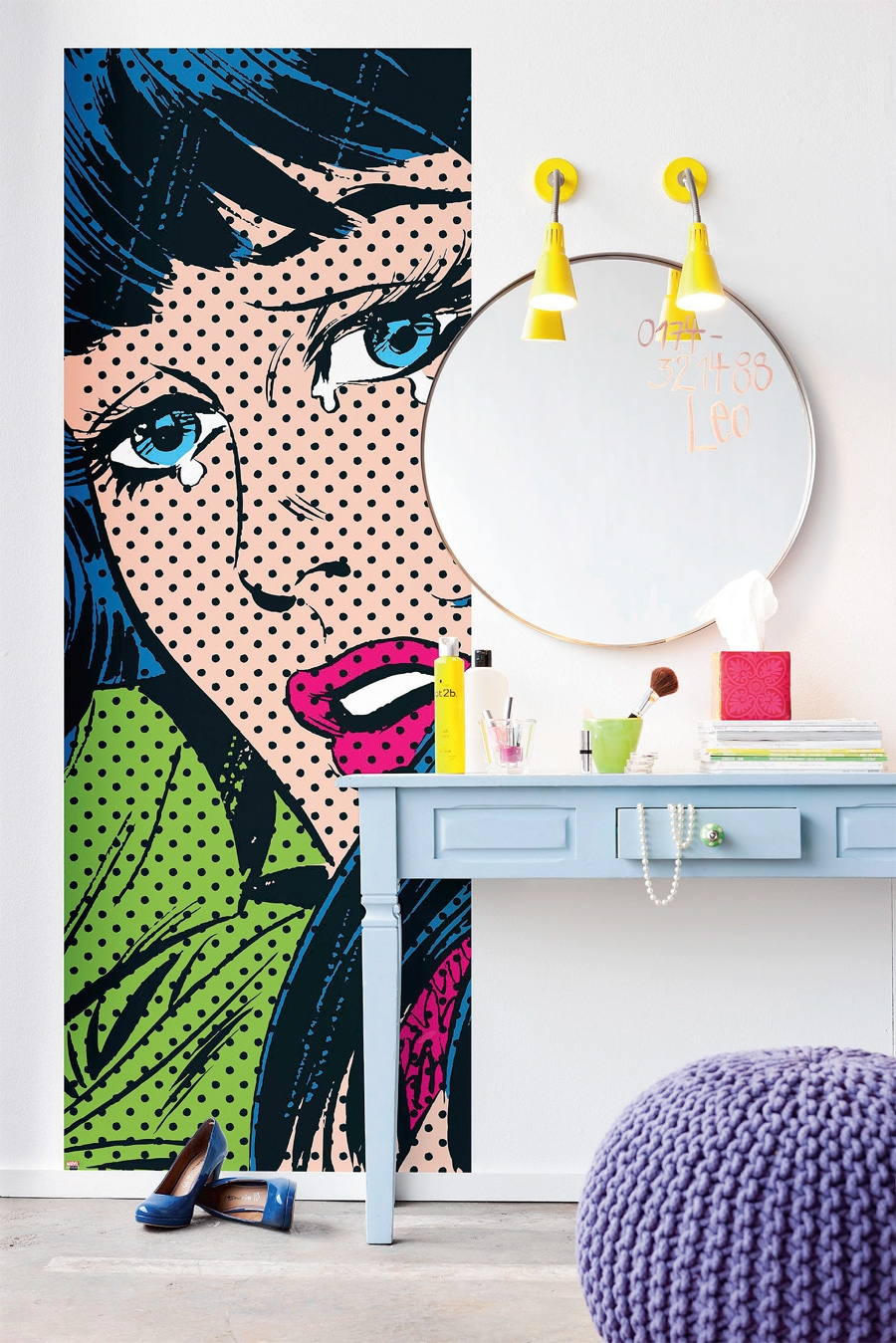 Pop Art Panel Behind Vanity