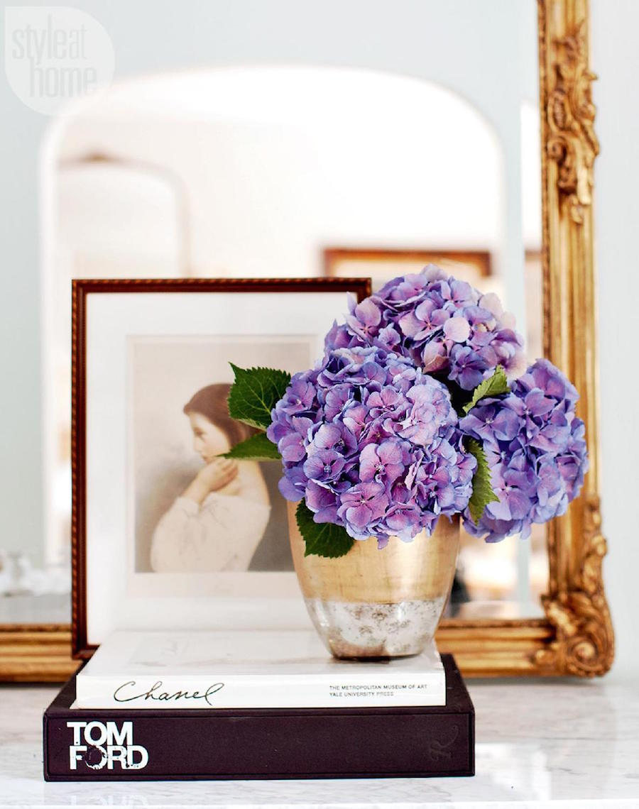 Purple flowers in this Parisian Inspired Apartment