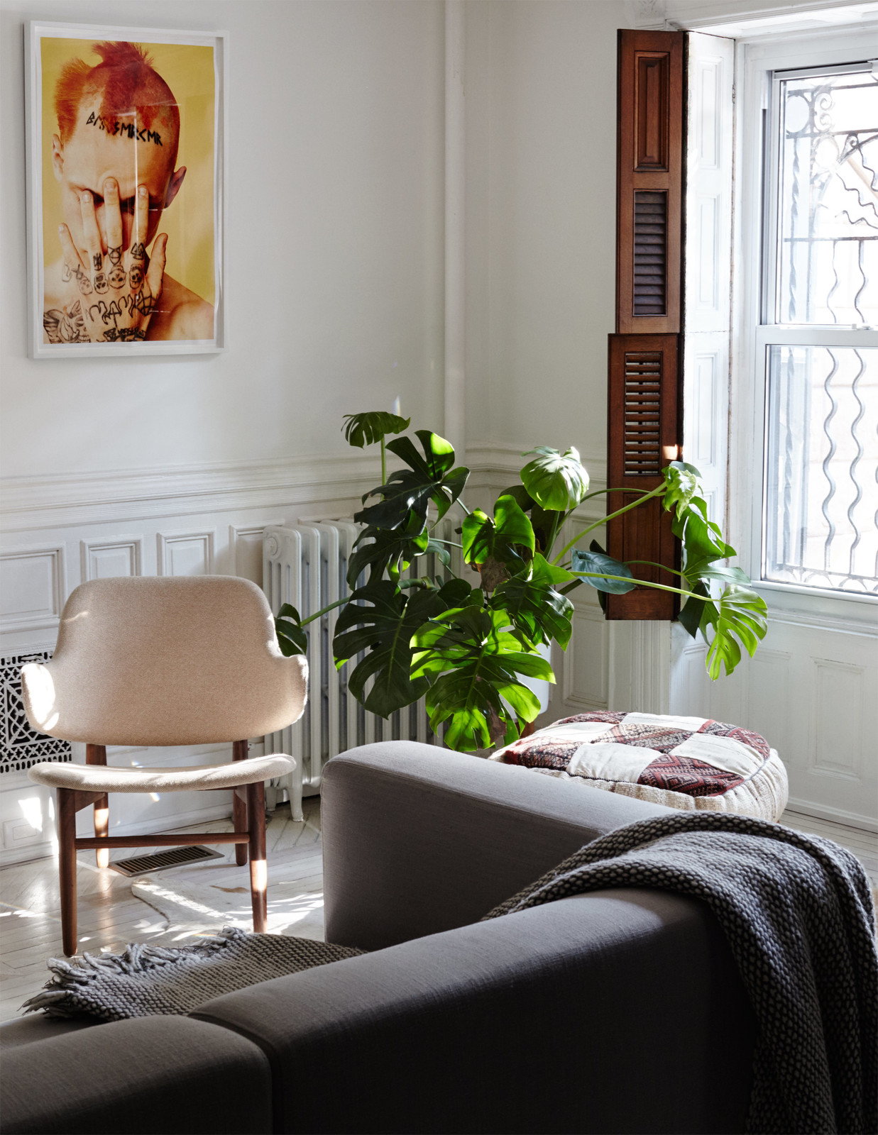 Scandinavian Chair with House Plant in a Minimal Brooklyn Retreat