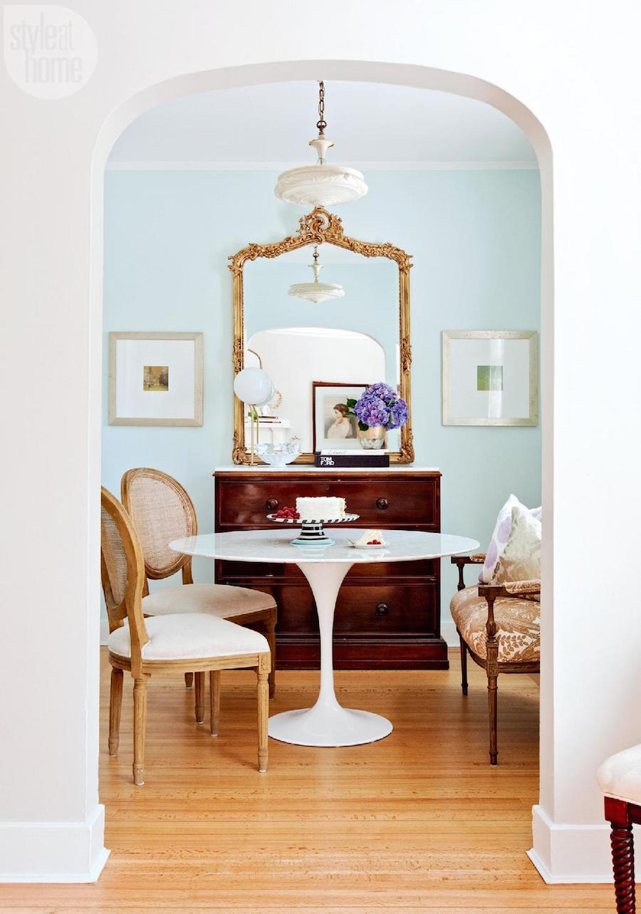 Soft blue dining room walls