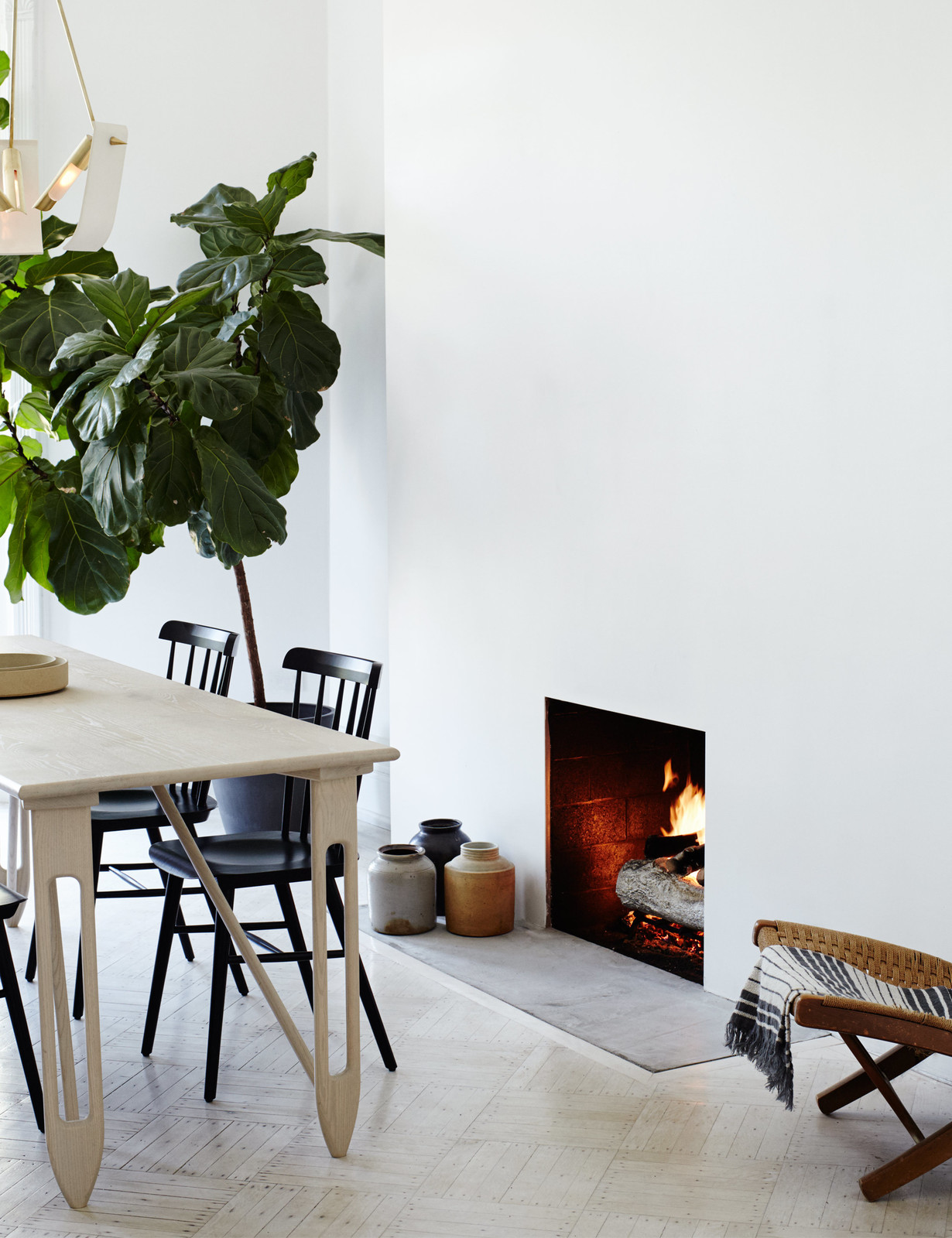 Ultra Minimal Fireplace in this Minimal Brooklyn Retreat