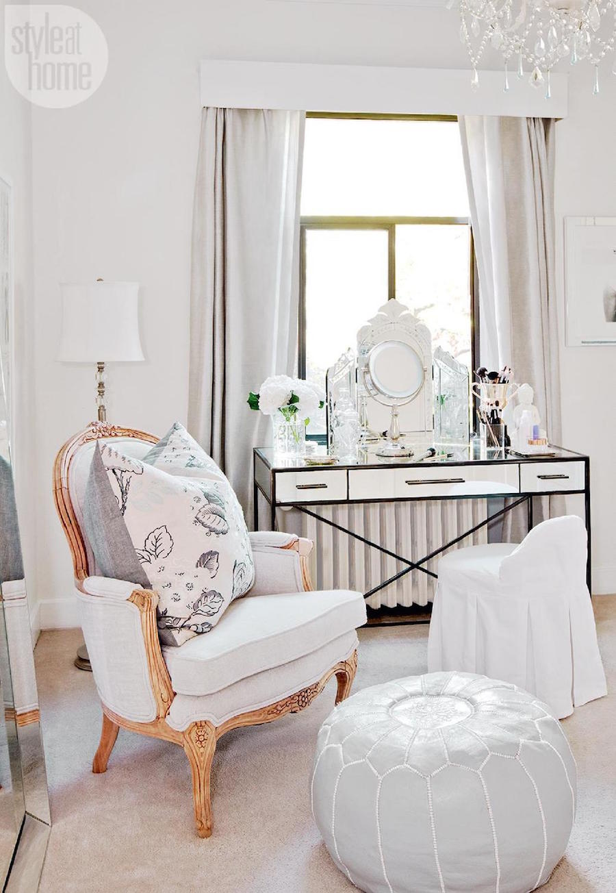 Vintage French chair and vanity in a Parisian Inspired Apartment