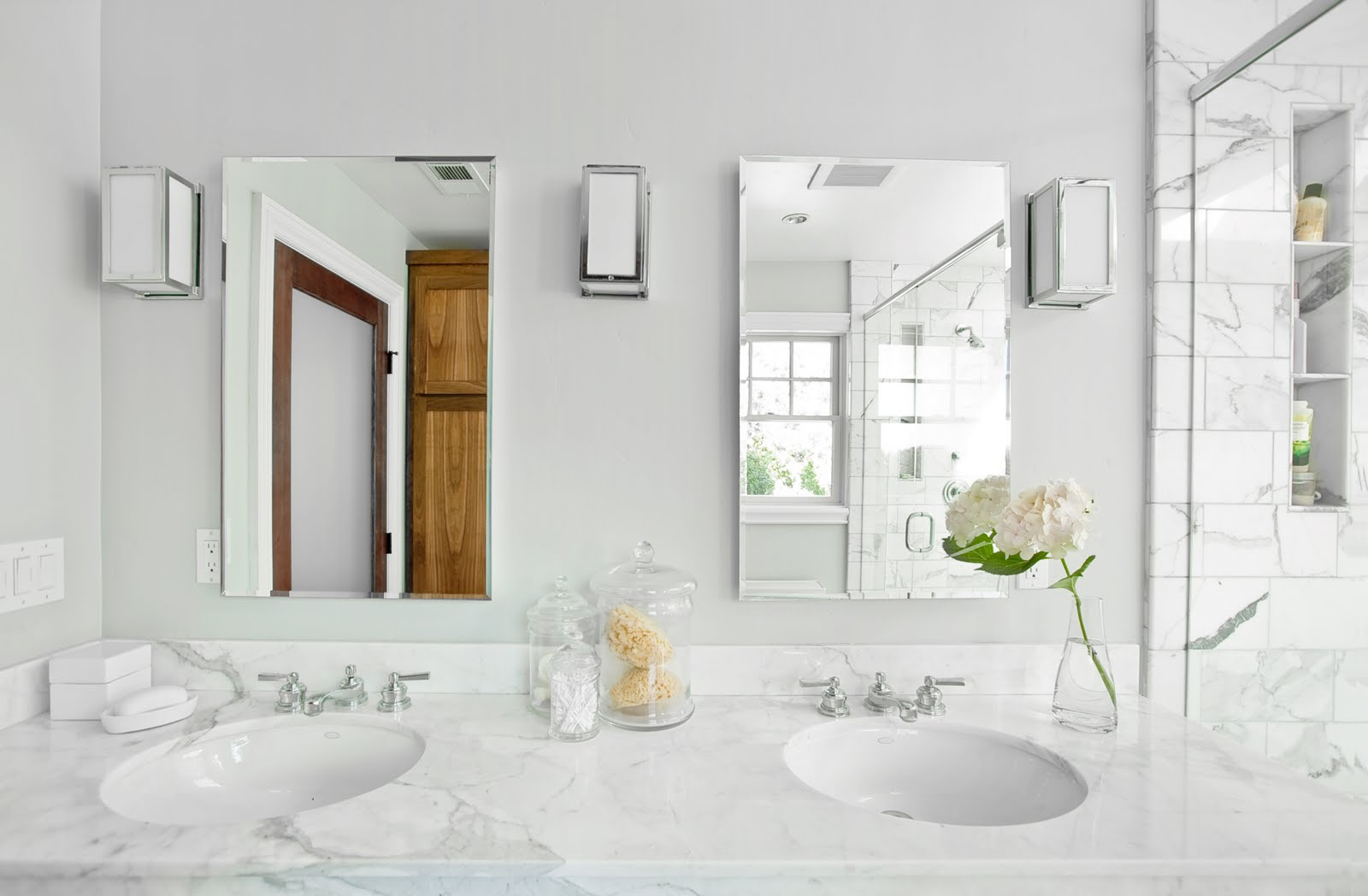 White Marble Double Sink