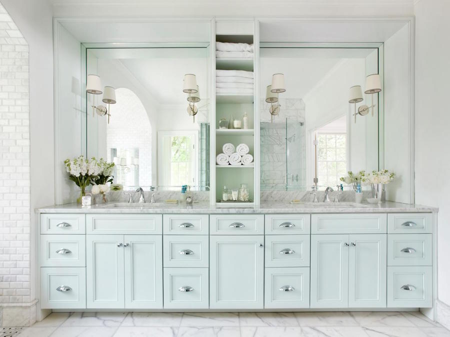 White Marble Vanity Top with Mint Green Cabinets