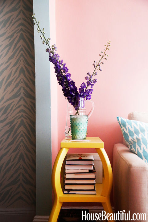 Yellow Side Table with Purple Flowers
