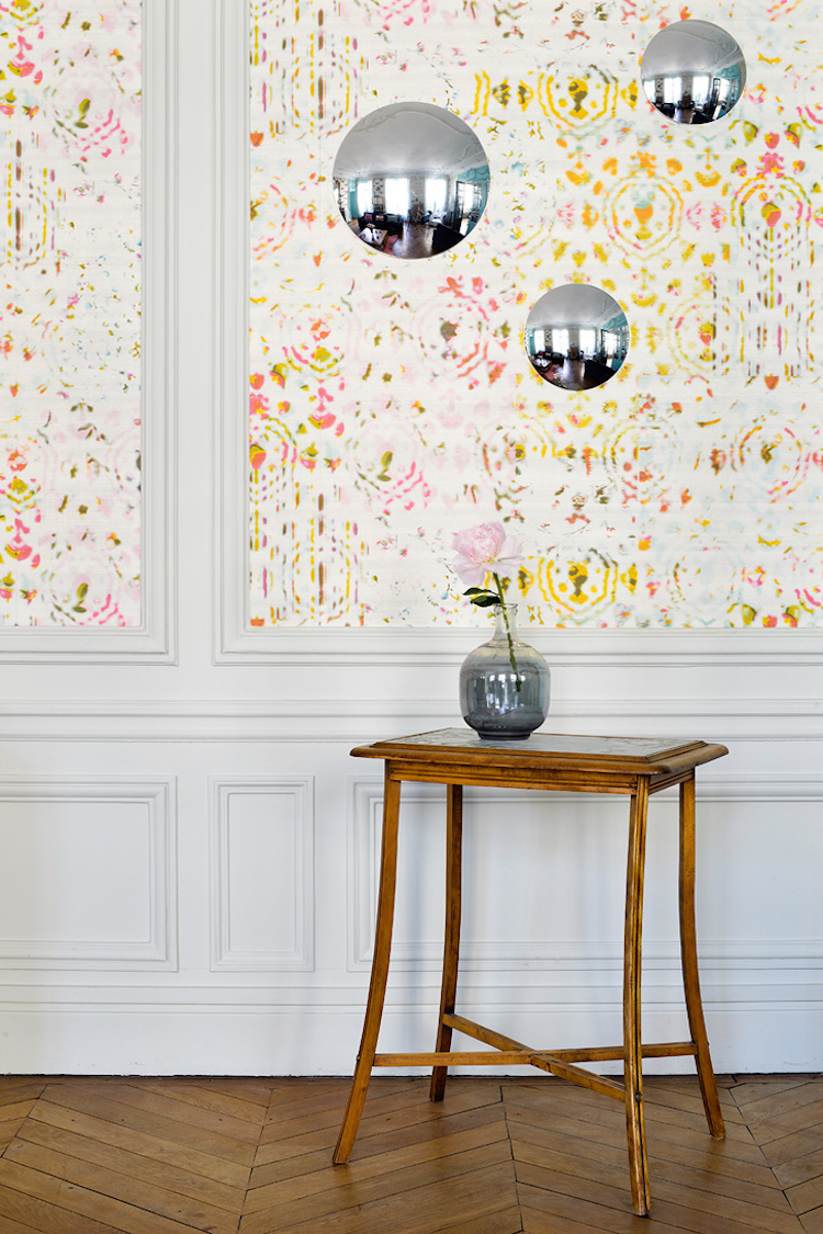 Yellow and Pink Patterned wallpaper with Moulding