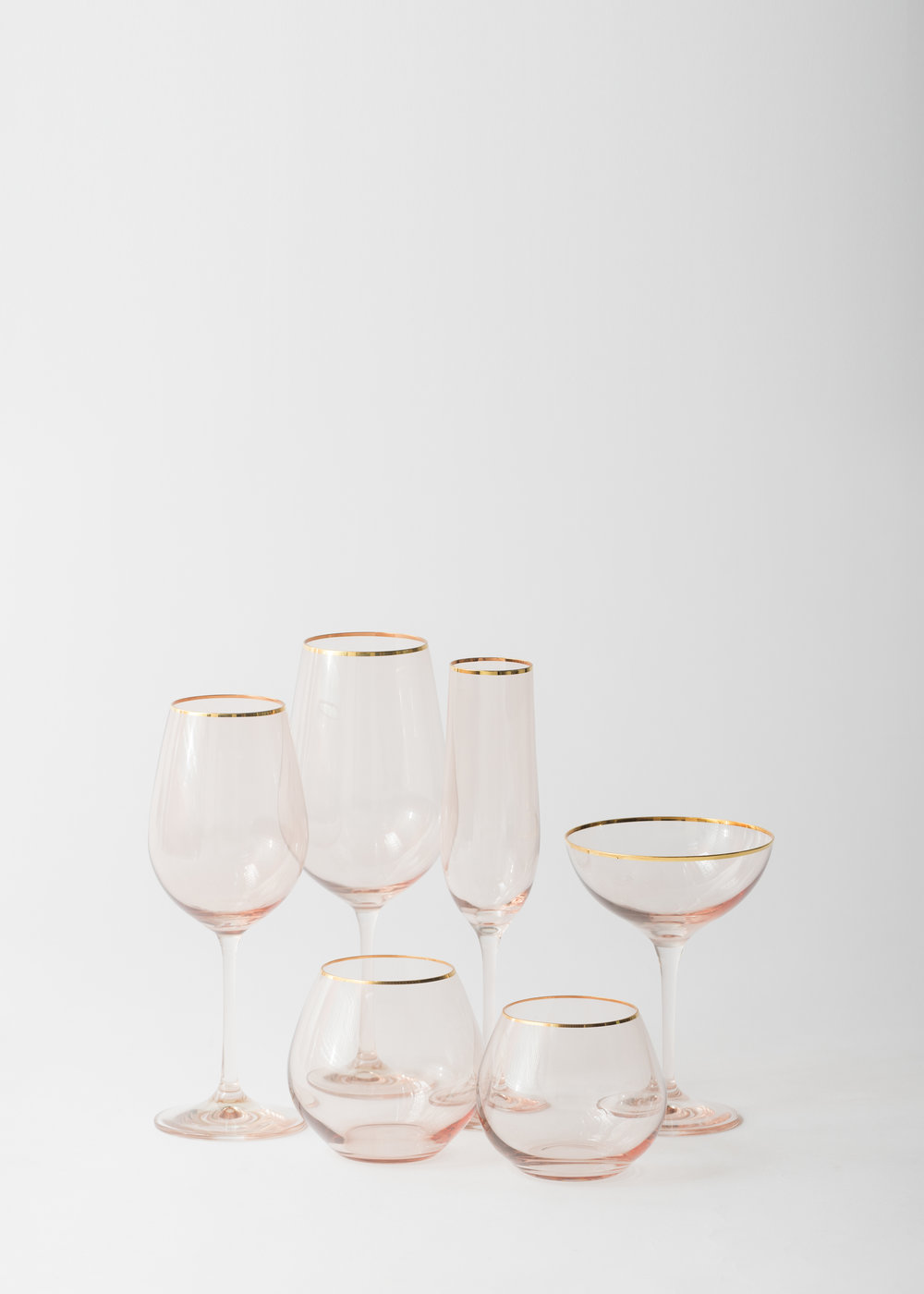 Bella Gold Rimmed Coupe in Blush by Casa De Perrin