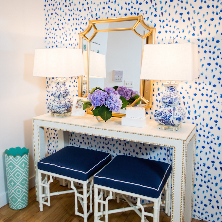 Blue Entryway with Double Stools