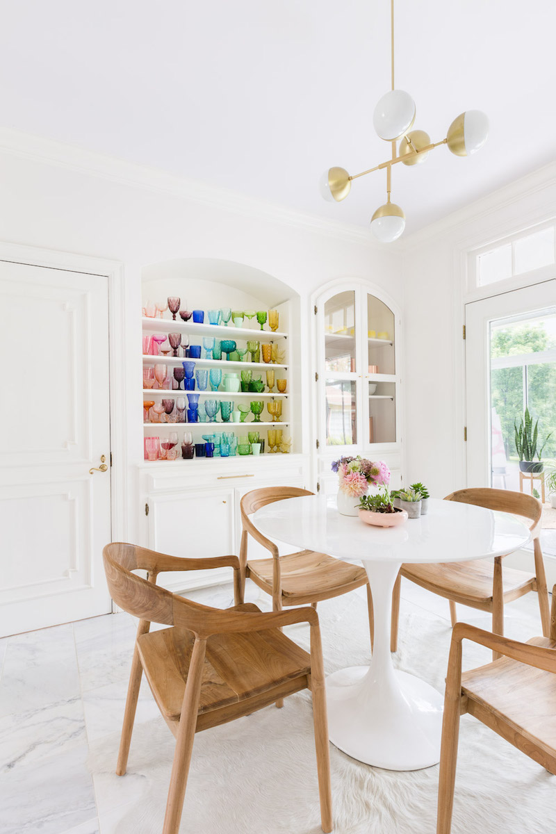 Colorful shelving in the dining room by Alyssa Rosenheck