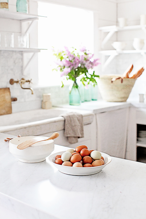 Eggs on white marble countertops