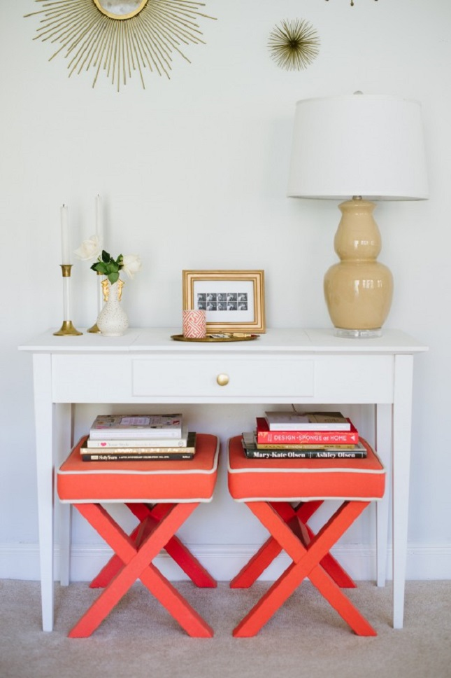 Entryway with two stools via Best Friends for Frosting
