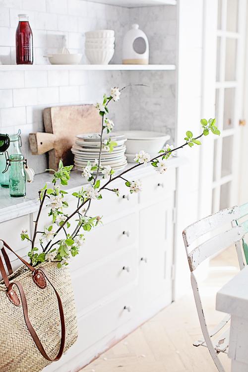 French weave basket in white kitchen
