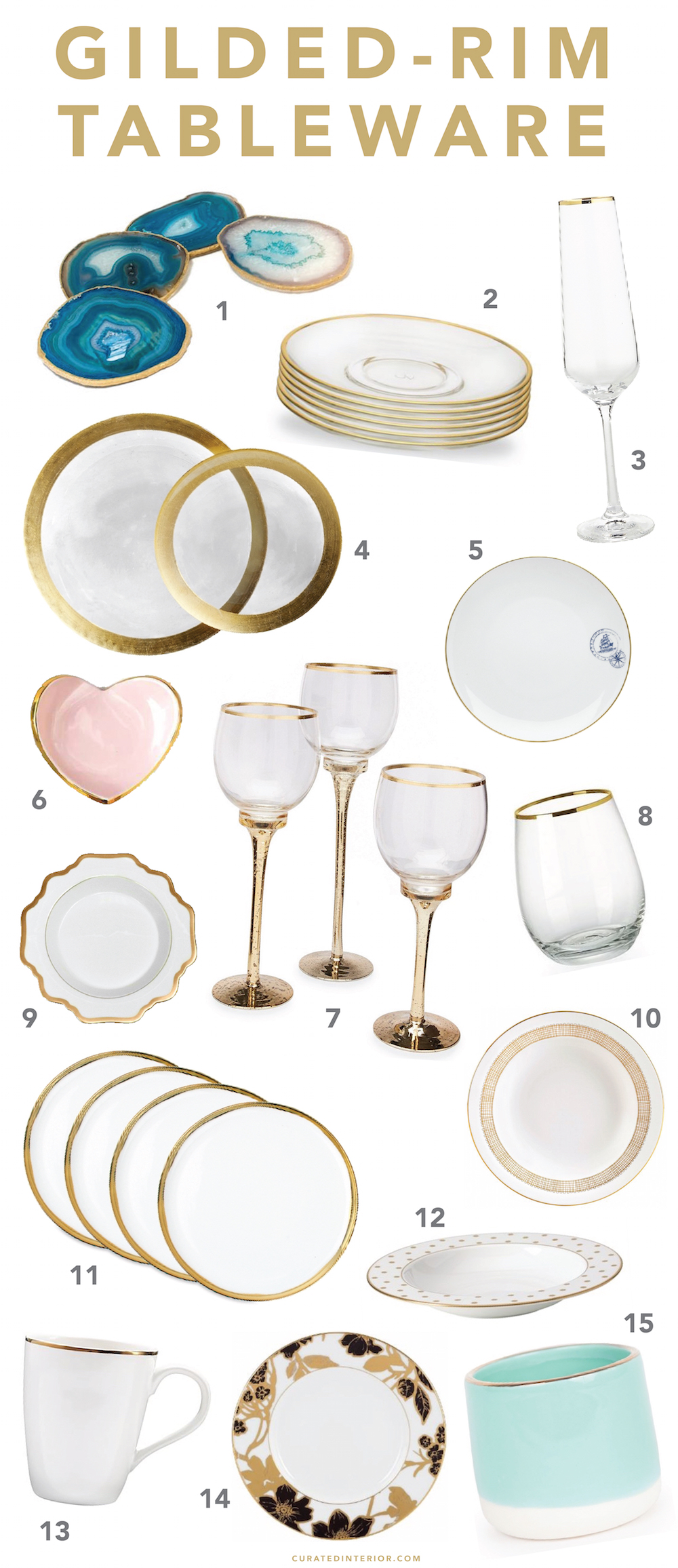 Gorgeous options for gilded-rim tableware!