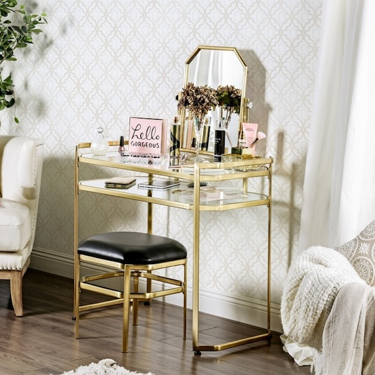 Gold Hollywood Style Vanity