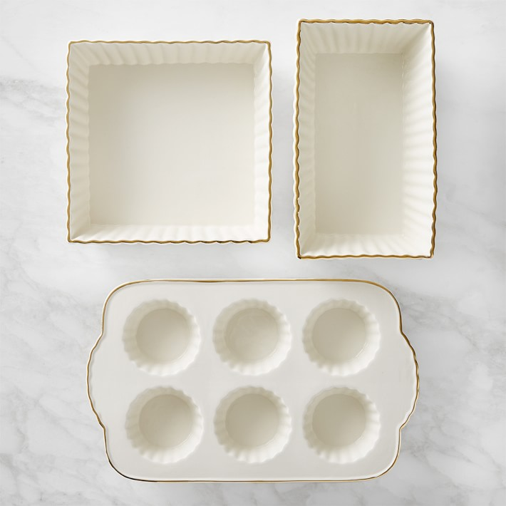 Gold-Rimmed Ceramic 3-Piece Bakeware Set