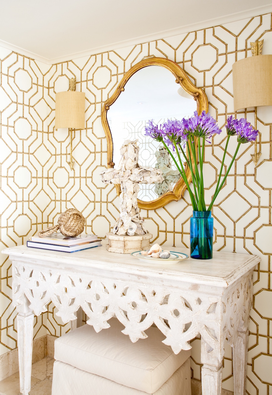 Gold and Cream Entryway with Cowtan and Tout Wallpaper