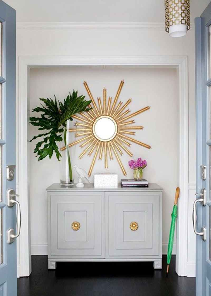Gold starburst mirror Entryway