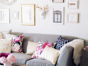 An Accessory Designer's Gorgeous Grey & Floral Office
