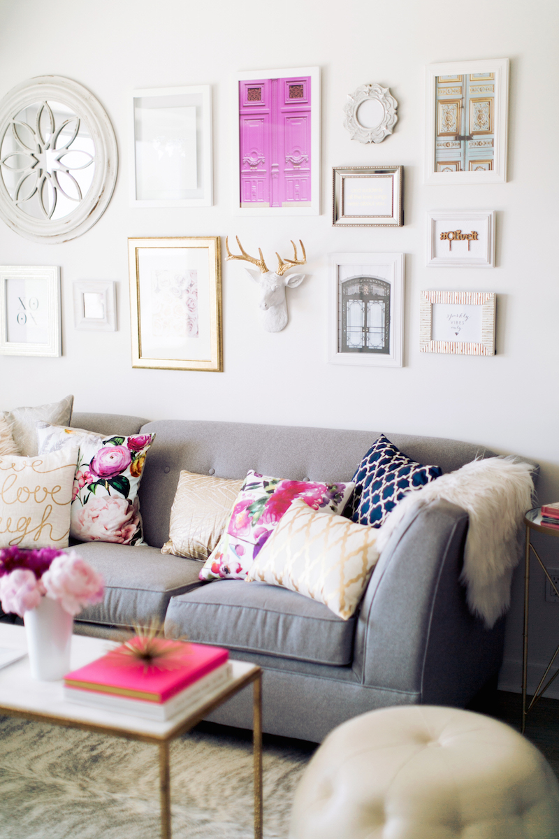 An Accessory Designer's Gorgeous Gray & Floral Office