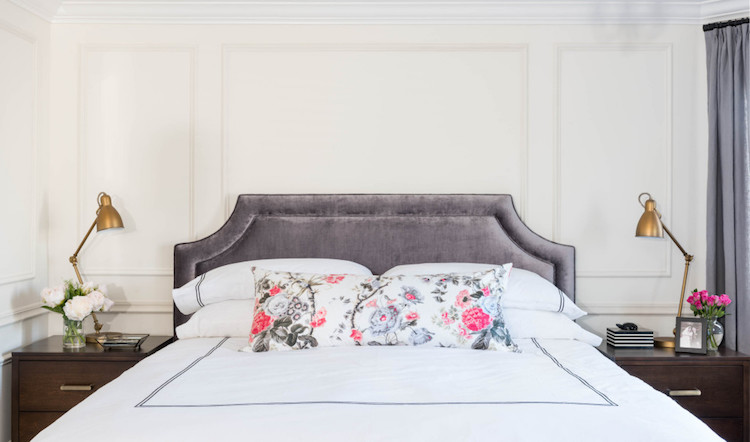 parisian bedroom. Parisian bedroom with grey headboard  Grey white sheets A Stunning Bedroom Update