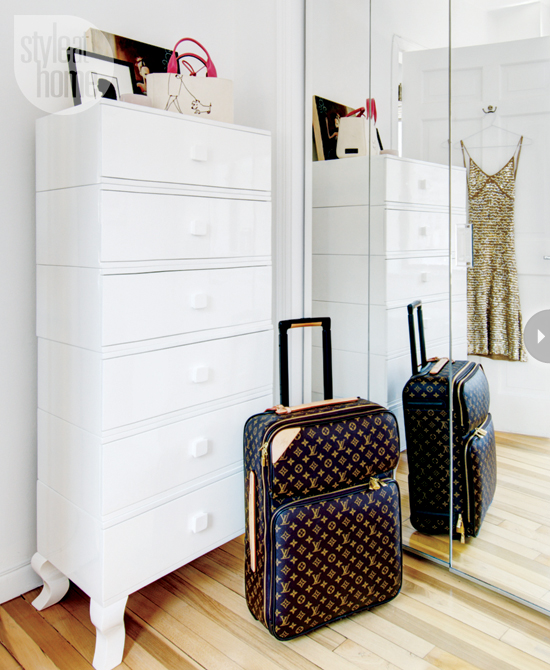 Lingerie drawers with Louis Vuitton luggage