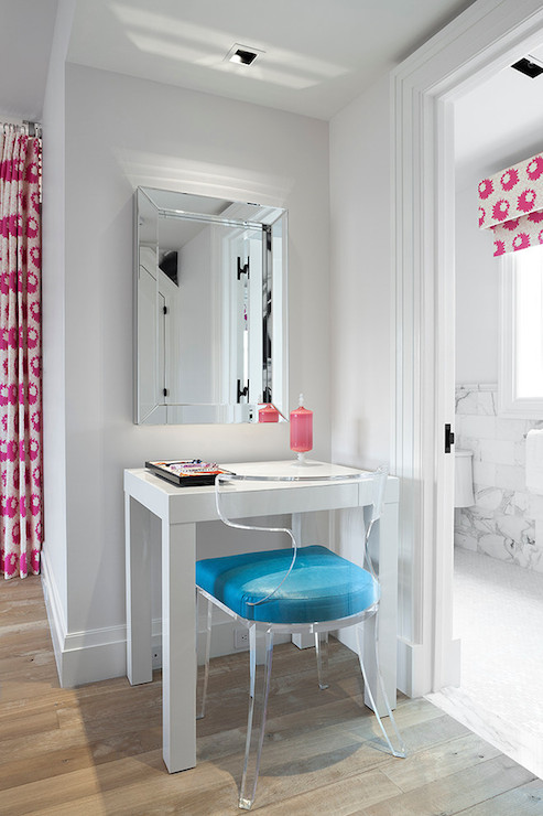 Minimal Vanity with lucite chair via Melanie Morris Design
