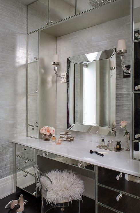 Mirrored vanity station with fur stool via Wendy Labrum Interiors