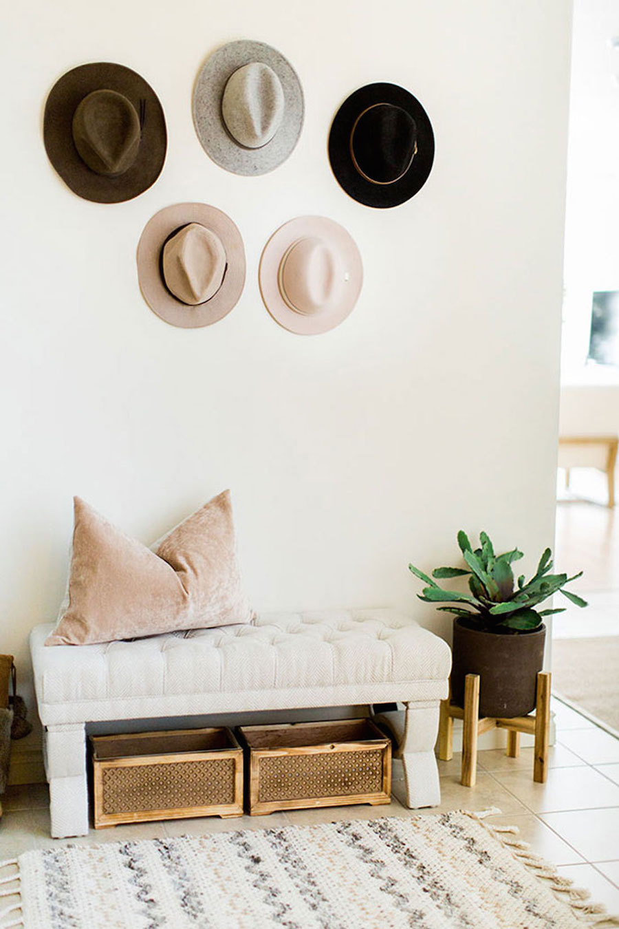 Neutral Entryway with Hats hanging
